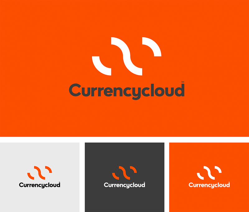 Логотип Currencycloud, оранжевый, белый, серый
