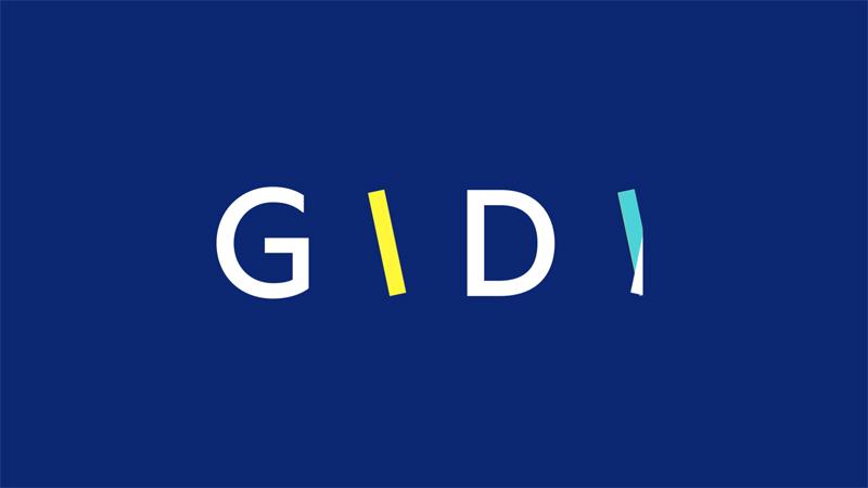 логотип Gidi, синий фон, буквы, белый, желтый, голубой